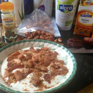 Yogurt with chopped dates, cacao beans and spices