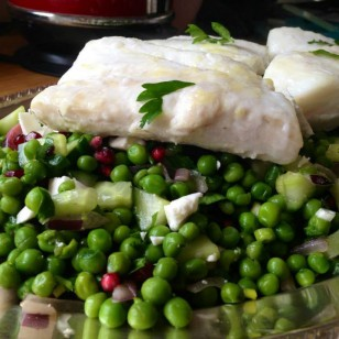 Baked Cod with petit pois and Feta cheese