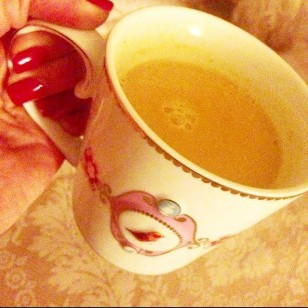Enjoying my golden milk before I sleep. It contains Coconut milk, Turmeric, Ginger, Cardamon, Maca and raw Honey.