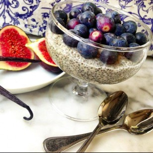 This is a very light desert and one of my favourites. It is full of nutrients and goodness. There are a lot of benefits in chia seeds and I mentioned them in an article that was published in Crumps Magazine.http://www.crumbsmag.com/journal/503_a-spoonful-of-chia. The ingredients are: soya milk, organic chia seeds, organic blueberries and vanilla seeds. You may replace blueberries with figs. I like it thick but you can dilute with more milk to taste.
