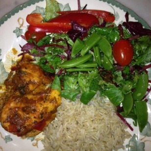 Whole grain rice, mixed salad, Moroccan chicken and sugar snap peas