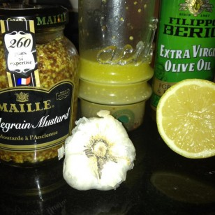 My special salad dressing: olive oil, whole grain mustard, lemon and garlic