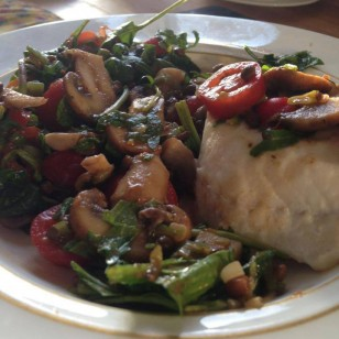 Our dinner for tonight: Haddock fillet, Puy lentils, wild rocket, tomato, lemon, sea salt, spring onion, chestnut mushrooms