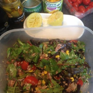 My late lunch! Tuna and sweetcorn salad with olives, tomatoes and leaves