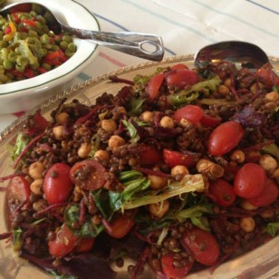 Chickpeas and puy lentil salad with tomatoes