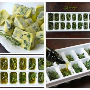 Freeze your fresh herbs in olive oil using ice cube trays