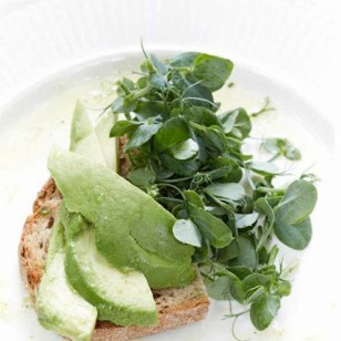 avocado on toast with watercress