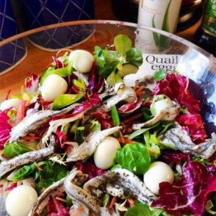 Quails Egg Salad - my light lunch of mixed leafy salad with quails eggs and anchovies.