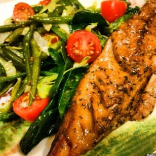 Our light dinner tonight is smoked mackerel served with iceburg lettuce, baby spinach, green beans, whole grain mustard, olive oil, sea salt, lemon and parsley